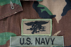 Navy SEAL trident on camoflauge. Uniform Royalty Free Stock Photos