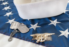 Navy SEAL trident on flag. By dog tags Stock Photos