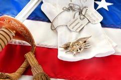 Navy SEAL Trident On Flag Royalty Free Stock Photos
