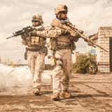 Navy SEALs in action Stock Images