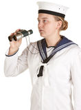 Navy seaman with binoculars Stock Image
