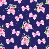 Navy seamless vector background with pink bows, rose flowers and Royalty Free Stock Photography