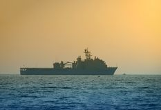 Navy ship at dawn Stock Photos