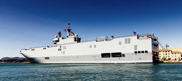 Navy ship. Moored in Toulon harbor, France Royalty Free Stock Photo