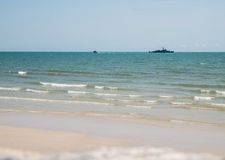 Navy ship sailing in the Hua Hin bay Royalty Free Stock Photo