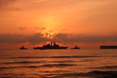 Navy ship at sea royalty free stock image