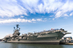 Navy ship USS Intrepid in New York Stock Image