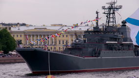 Navy Ships Docked. Russian large landing ship. A warship moored in the city center stock video footage