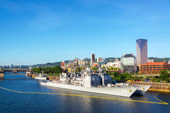 Navy Ships and Downtown Portland Royalty Free Stock Images