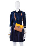 Navy shirt with bicolor purse. Royalty Free Stock Image