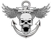 Navy skull. Illustration of skull with anchor and wings in Royalty Free Stock Images