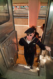 Navy soldier in Troop Train Royalty Free Stock Image