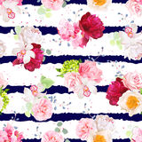 Navy striped print with bouquets of flowers Royalty Free Stock Photography