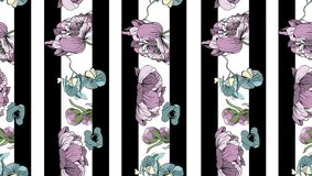Navy striped print with bouquets of peony, orchids and poppies. vector illustration