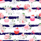 Navy striped seamless vector pattern with fresh pastries, bouquets of flowers and keys with red bows. Stock Photography