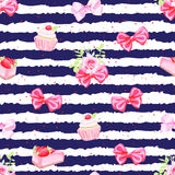 Navy striped seamless vector pattern with fresh pastries and bow Royalty Free Stock Image