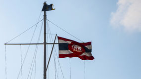 Navy Thailand flag fluttering Royalty Free Stock Photos