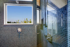 Navy tile wall trim shower with glass door Stock Photos