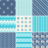 Navy vector seamless backgrounds collection Royalty Free Stock Photo