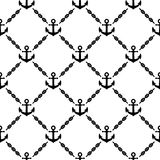 Navy vector seamless pattern with anchors Stock Image