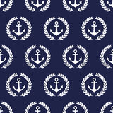Navy vector seamless patterns with anchor and laurel wreath. Stock Photos
