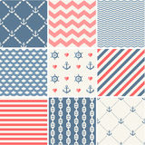 Navy vector seamless patterns collection Royalty Free Stock Images
