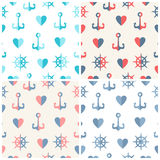 Navy vector seamless patterns set anchor, steering Stock Image