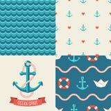 Navy vector seamless patterns. Vector illustration Royalty Free Stock Photo