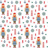 Navy vector seamless sea pattern: bearded sailor, lighthouse, anchor, seahorse. Stock Photo