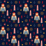 Navy vector seamless sea pattern: bearded sailor, lighthouse, anchor and seahorse. Stock Photos
