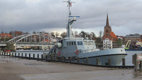 Navy vessel in Sonderburg harbour. Small Navy vessel in Sonderburg harbour Stock Image