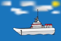 Navy warship image. Hand drawn  stock illustration Stock Photo