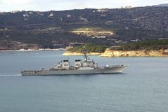 Navy warship in Kalyves, Crete, Greece, Europe. Royalty Free Stock Photo