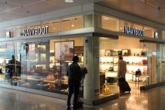 Navyboot footwear store stock photography