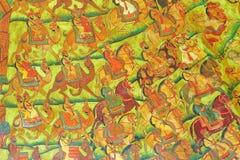 NAWALGARH, RAJASTHAN, INDIEN - 29. DEZEMBER 2017: Wandmalereien bei Sheesh Mahal mit Miniaturmalereien Mughal, die Männer darstel lizenzfreie stockfotos