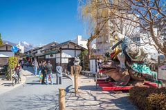Nawate Dori街在马塔莫罗斯日本 库存图片