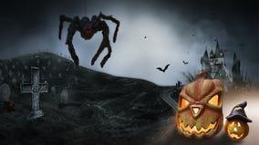 Nawiedzający Hause z baniami droga, ciemny straszny cmentarza dymu światło - szarość na czarnego tła horroru Halloweenowym pojęci ilustracja wektor
