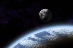 Nawierzchniowa planety ziemia, księżyc i fotografia stock