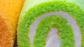 Nawierzchniowa tekstura Pandan i Pomarańczowa smak rolka zasychamy zdjęcia stock
