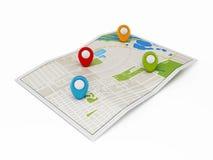 Nawigaci mapa z markierami Fotografia Royalty Free