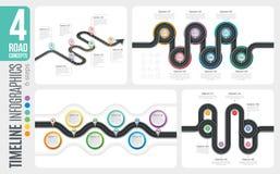 Nawigaci mapy 6 kroków linii czasu infographic pojęcia 4 meandruje Zdjęcie Stock