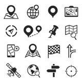 Nawigacja i gps ikony set, kartografia plan royalty ilustracja