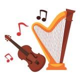 Nawleczeni instrumenty muzyczni i notatki wokoło kreskówka setu ilustracja wektor