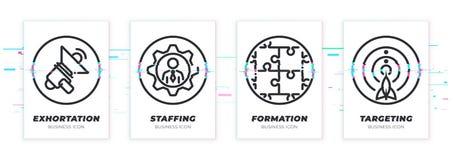 Nawoływanie, farsz, formacja, celuje Biznesowy temat glitched czarne ikony ustawiać royalty ilustracja