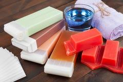 Nawoskuje dla włosianego usunięcia, ręcznika i oleju, Zdjęcie Royalty Free