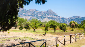 Naxos Archaeological Park in Giardini Naxos town Royalty Free Stock Images