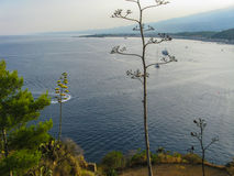Naxos bay from Taormina. Sicily Stock Photo