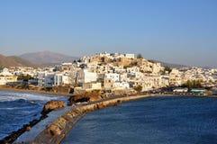 Naxos, Chora visto do templo de Apollo Fotos de Stock Royalty Free
