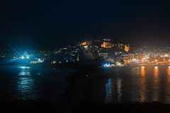 Naxos island at night Royalty Free Stock Images