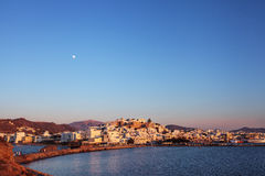 Naxos Old town at sunset, Greece. Stock Image